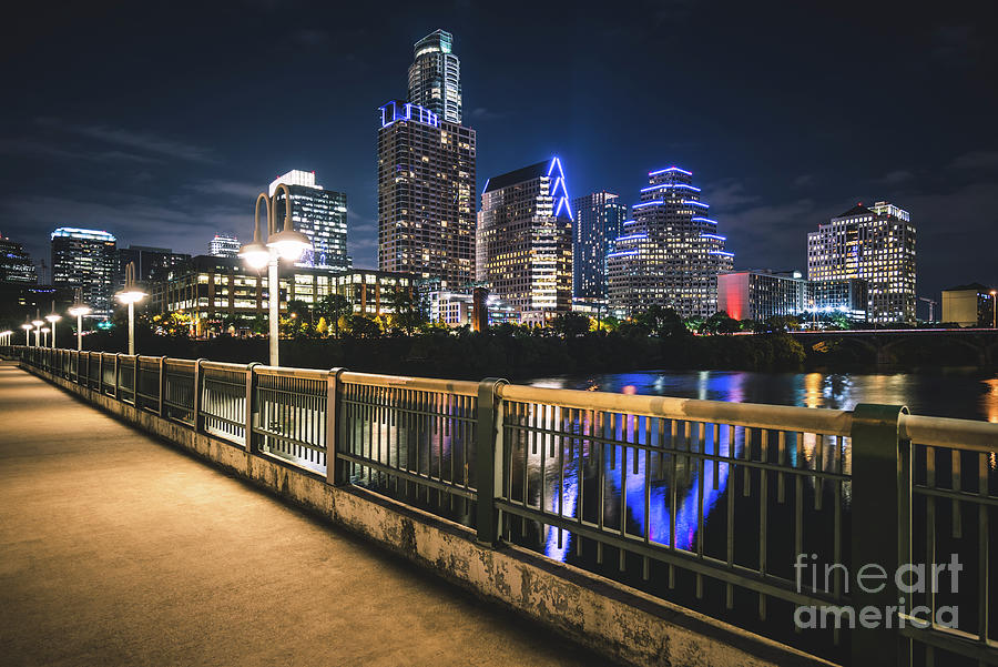 2016 Photograph - Austin Skyline At Night In Austin Texas by Paul Velgos