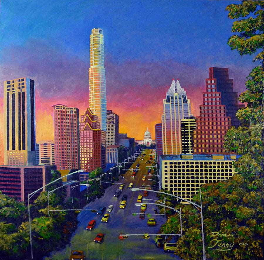 Austin At Dusk: Austin Skyline At Sunset Painting By Dan Terry
