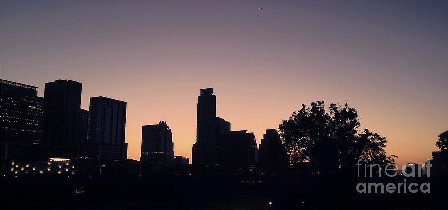 Butler Park Photograph - Austin Skyline Sunrise Into A Crescent Moon Panorma by Felipe Adan Lerma