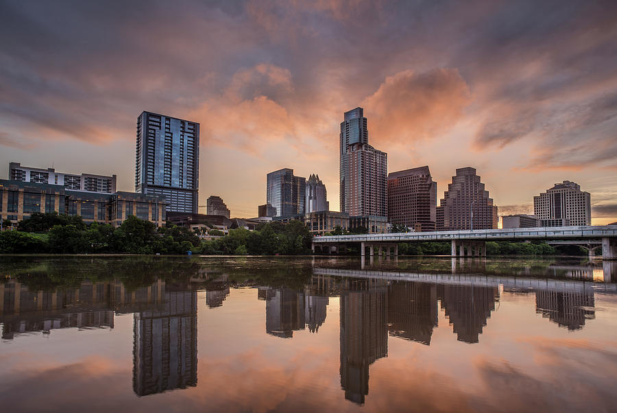 Austin Skyline Sunrise Reflection by Todd Aaron