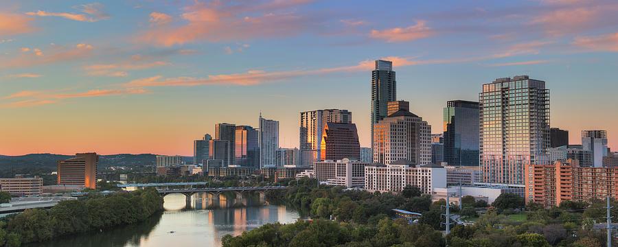 Austin Skyline Photograph - Austin Skyline Sunset In Fall 3 by Rob Greebon