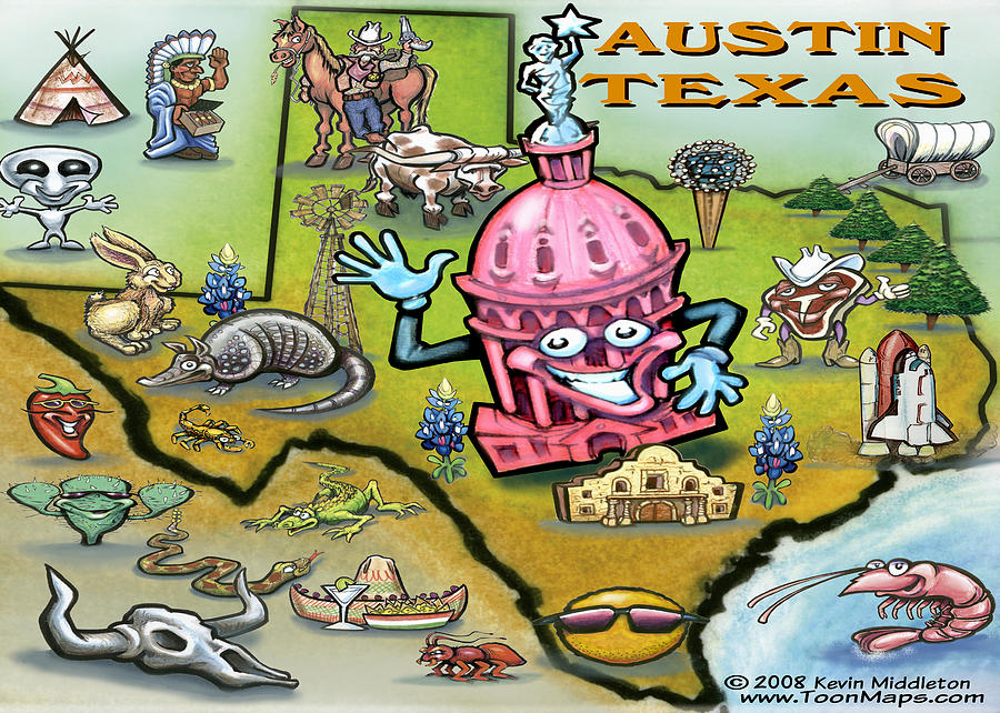 Austin Digital Art - Austin Texas Cartoon Map by Kevin Middleton