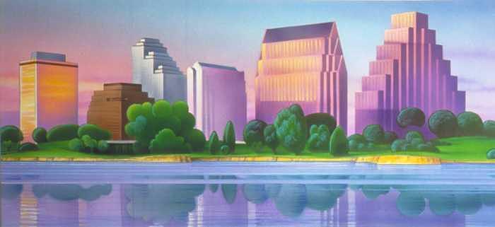 Texas Painting - Austin Texas Skyline by Daniel Bourbonnais