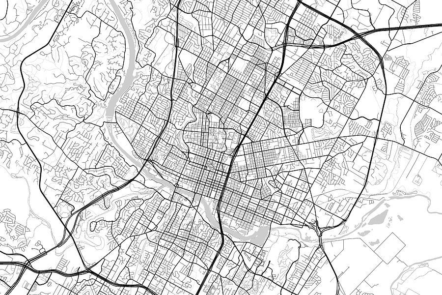 Road Map Of Austin Texas.Austin Texas Usa Light Map By Jurq Studio