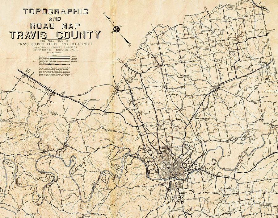 Road Map Of Austin Texas.Austin Texas Vintage City Map By Elite Image Photography By Chad Mcdermott
