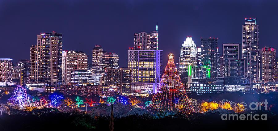 Austin Christmas Tree Part - 17: Austin Photograph - Austin Zilker Christmas Tree Skyline By Tod And Cynthia  Grubbs