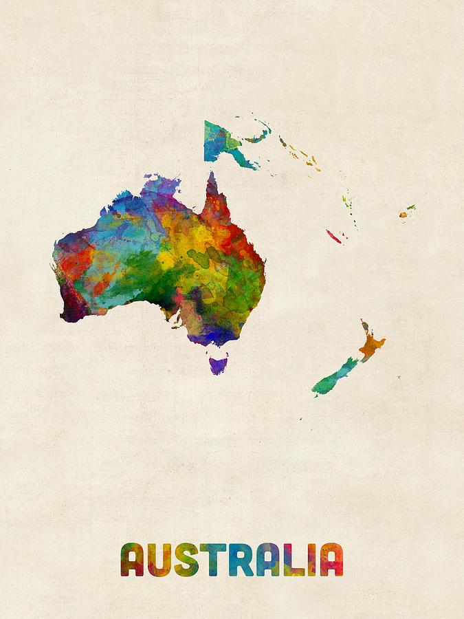Australia Map Art.Australia Continent Watercolor Map By Michael Tompsett