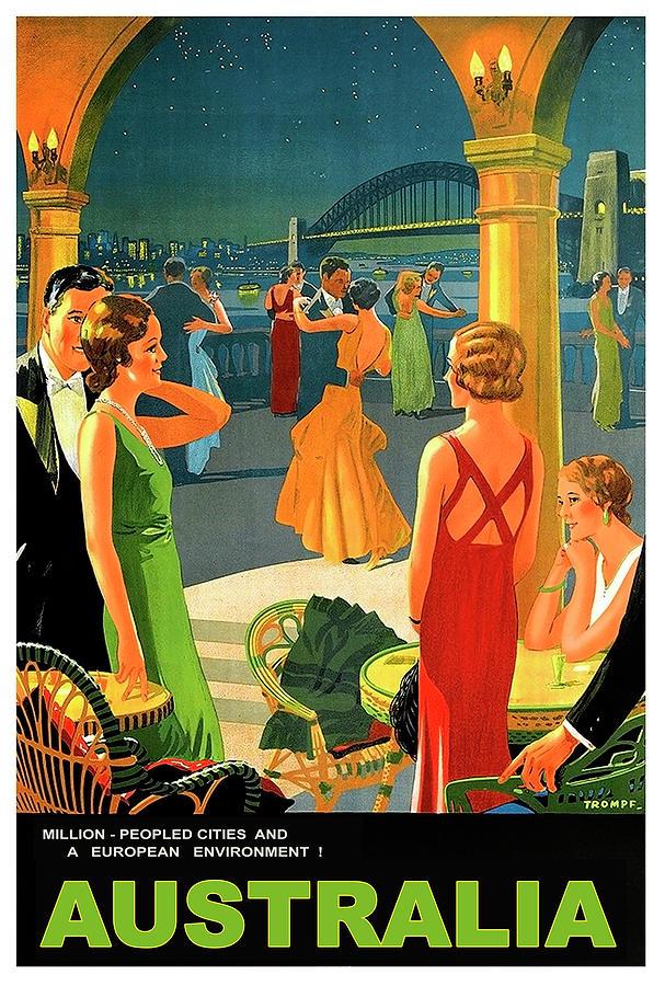 Australia Painting - Australia, Romantic Night, Dance And Music, Hotel Terrace by Long Shot