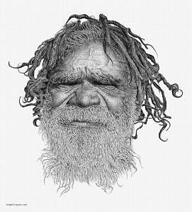 Australian Drawing - Australian Aboriginal by Kim Philipsen