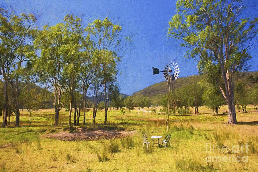 Australia Photograph - Australian Paddock With Mill by Sheila Smart Fine Art Photography