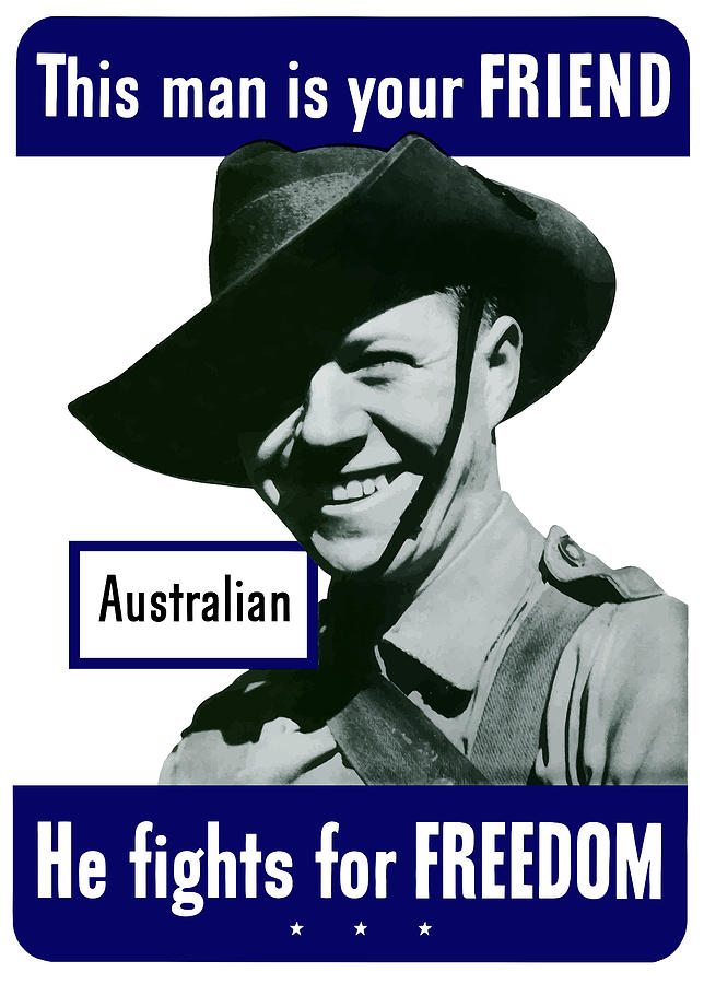 Australian Soldier Painting - Australian This Man Is Your Friend  by War Is Hell Store