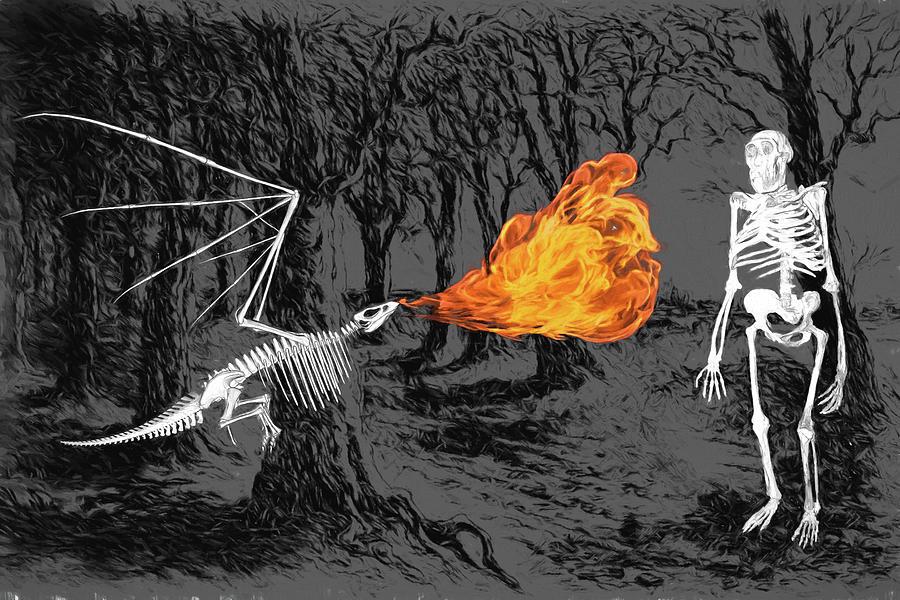 Australopithecus Digital Art - Australopithecus And The Dragon by John Haldane
