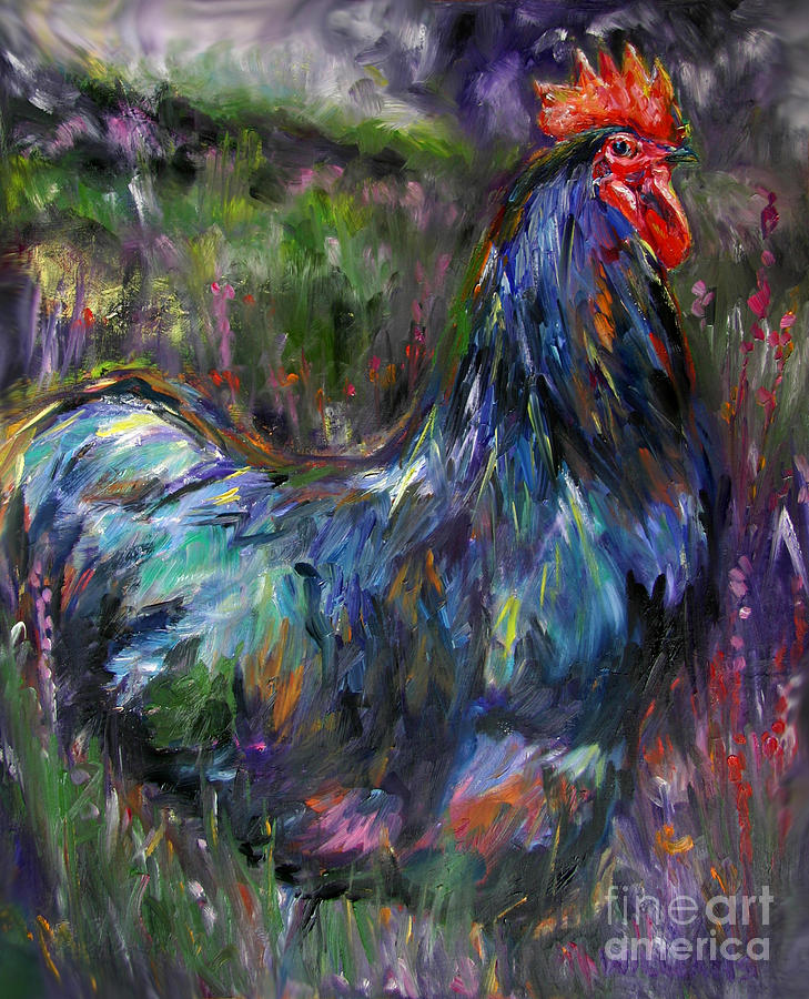 Australorp Rooster Painting - Australorp Rooster by Monastere Saint-Benoit