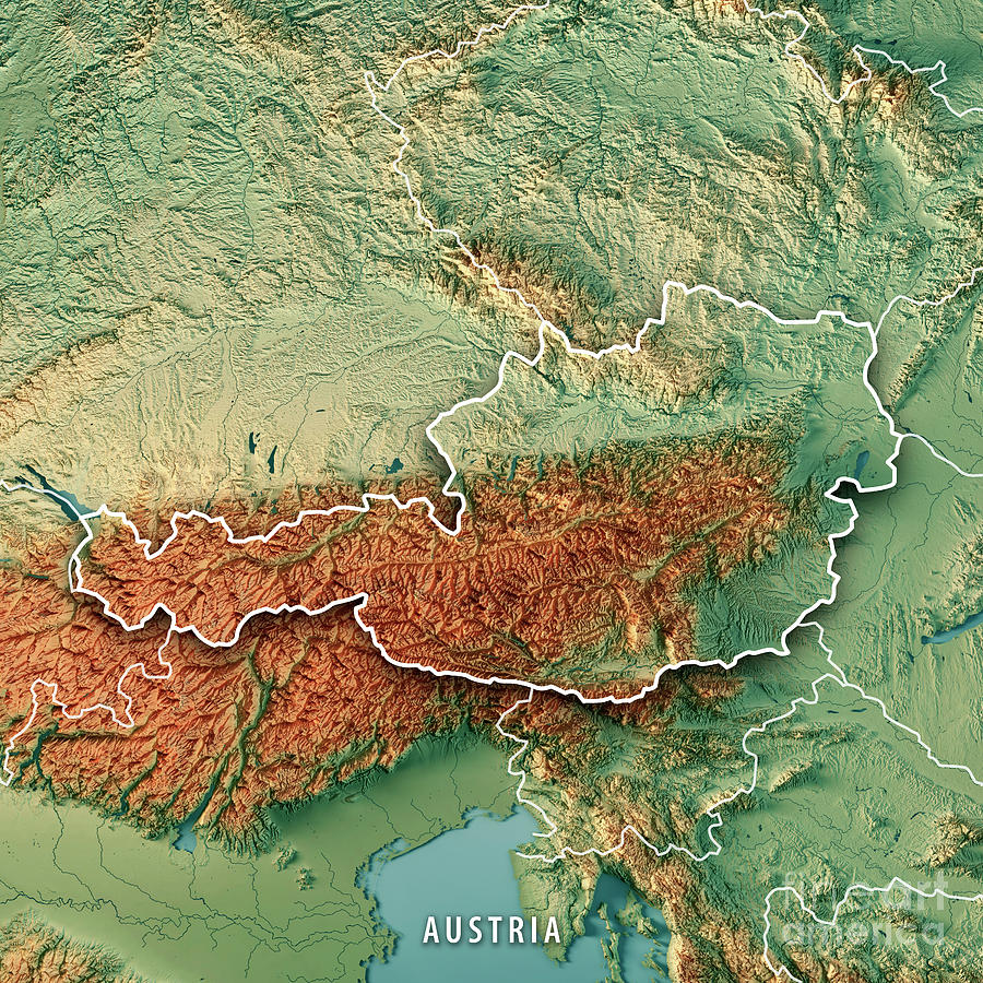 Austria Country 3d Render Topographic Map Border