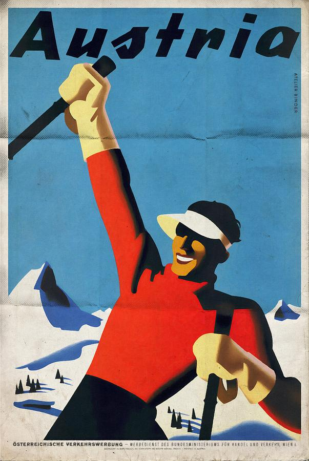Posters Mixed Media - Austria Ski Tourism - Vintage Poster Folded by Vintage Advertising Posters