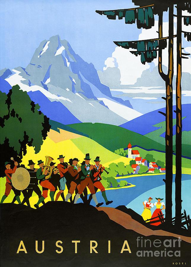 Vintage Painting - Austria Vintage Travel Poster by Vintage Treasure
