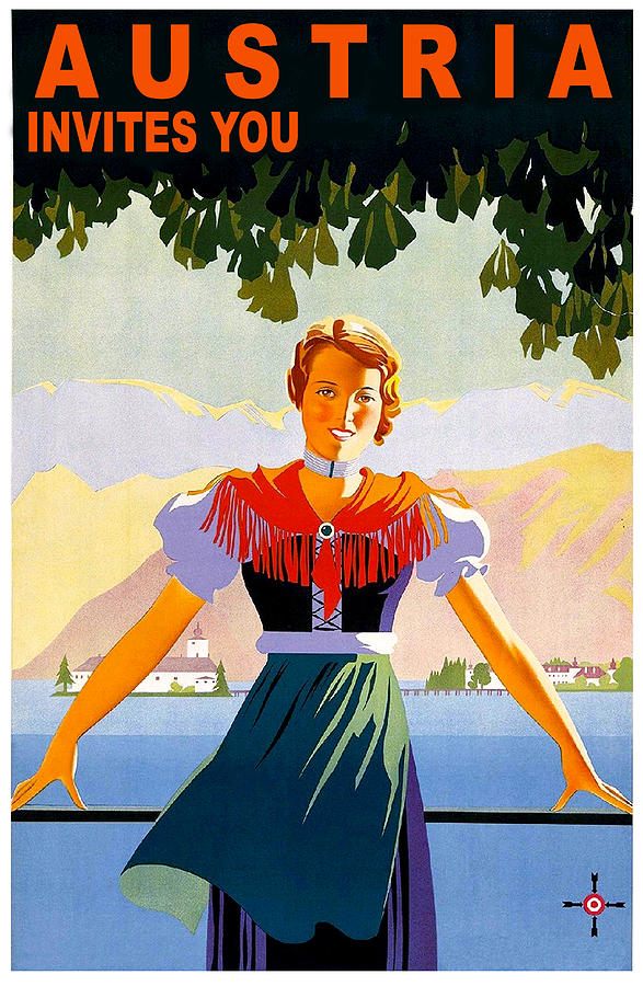 Austria Painting - Austria, Young Woman In Traditional Dress Invites You, Danube River by Long Shot