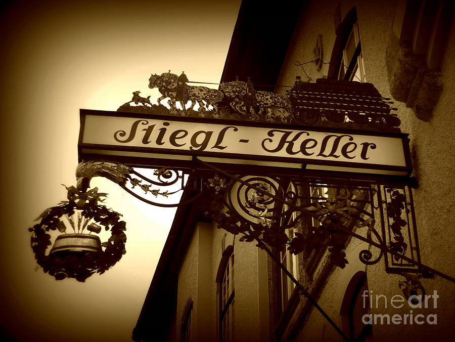 Sign Photograph - Austrian Beer Cellar Sign by Carol Groenen