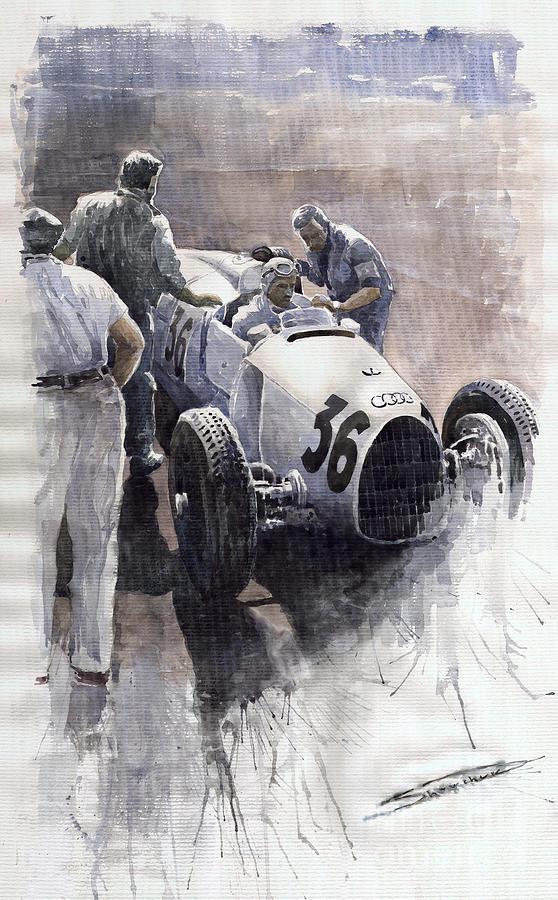 Auto Painting - Auto Union B Type 1935 Italian Gp Monza B Rosermeyer by Yuriy Shevchuk