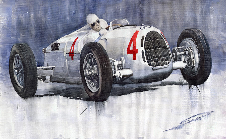 Auto Painting - Auto Union C Type 1937 Monaco Gp Hans Stuck by Yuriy  Shevchuk