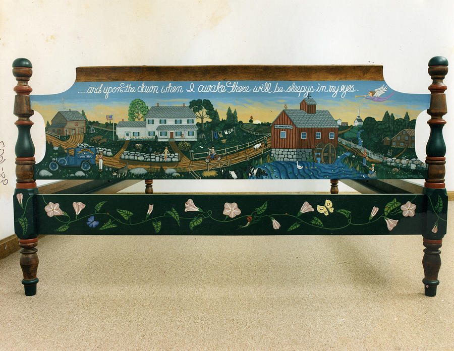 Painted Furniture Painting - Autobiographical Bedroom Set The Bed The Footboard by James Mooney