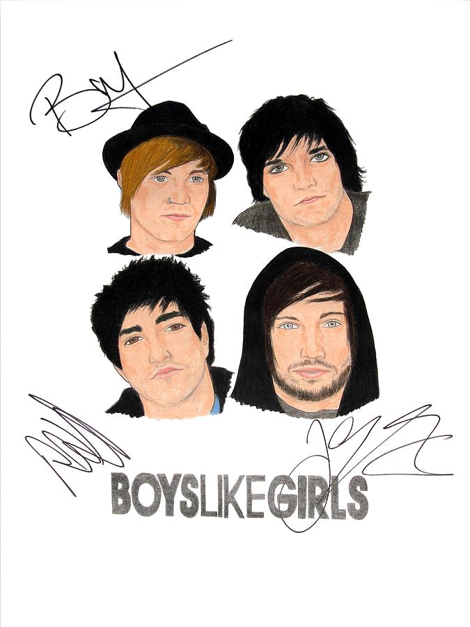Boys Like Girls Drawing - Autographed Boys Like Girls by Michael Dijamco