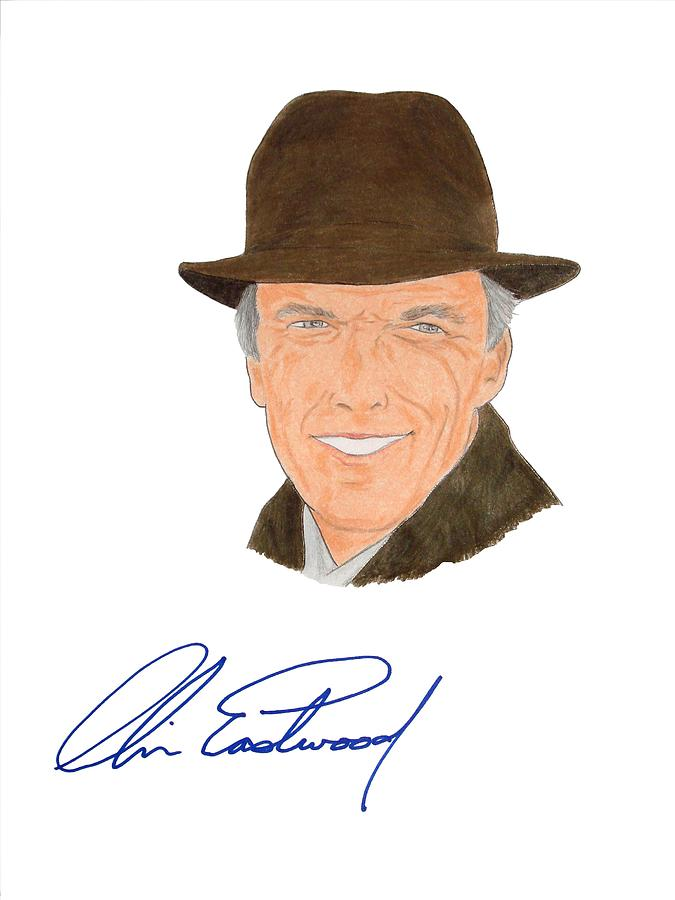 Clint Eastwood Drawing - Autographed Clint Eastwood by Michael Dijamco