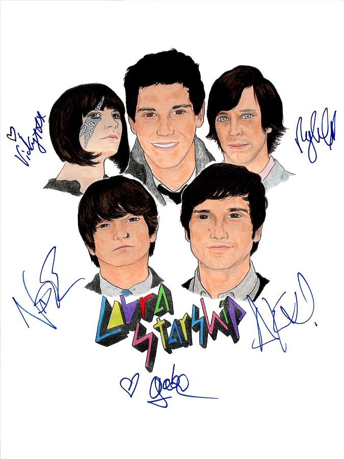 Cobra Starship Drawing - Autographed Cobra Starship  by Michael Dijamco