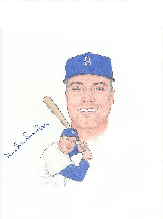 Autographed Drawing - Autographed Duke Snider by Michael Dijamco