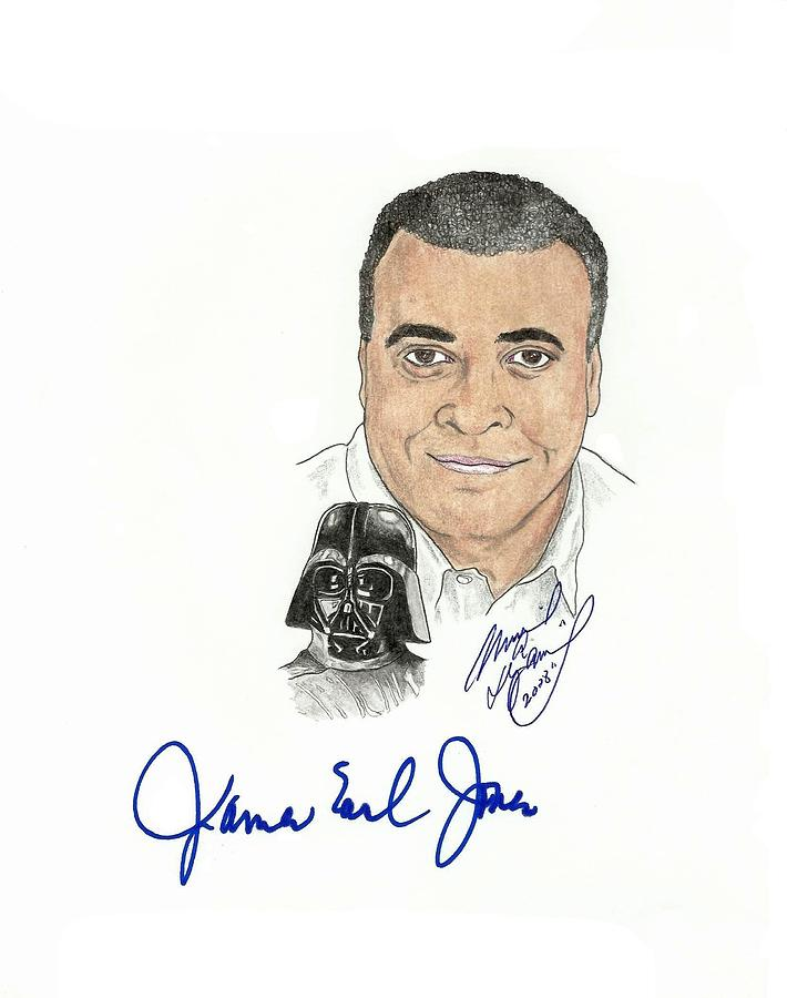 Autographed Drawing - Autographed James Earl Jones by Michael Dijamco