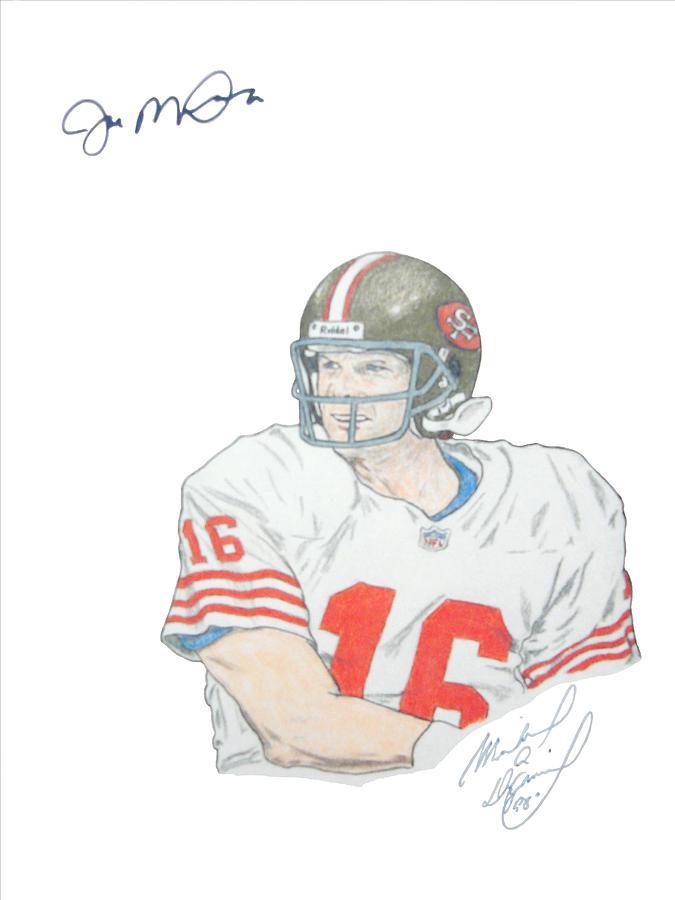 Autographed Drawing - Autographed Joe Montana Portrait by Michael Dijamco