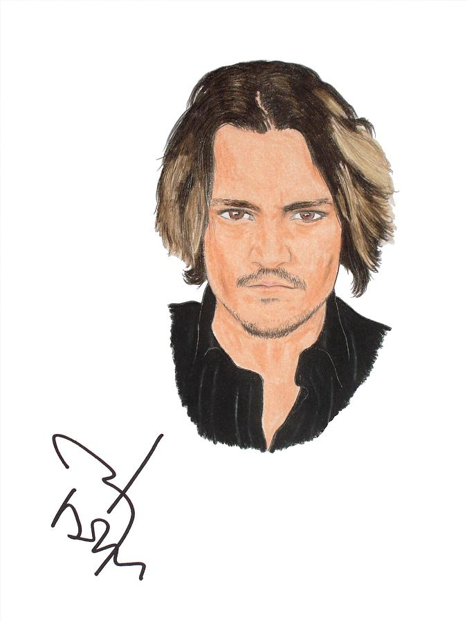 Johnny Depp Drawing - Autographed Johnny Depp by Michael Dijamco