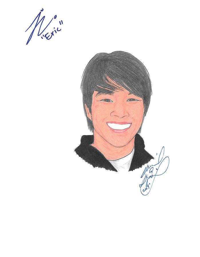 Autographed Drawing - Autographed Justin Chon by Michael Dijamco
