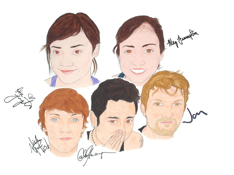 Portraits Drawing - Autographed Meg And Dia by Michael Dijamco