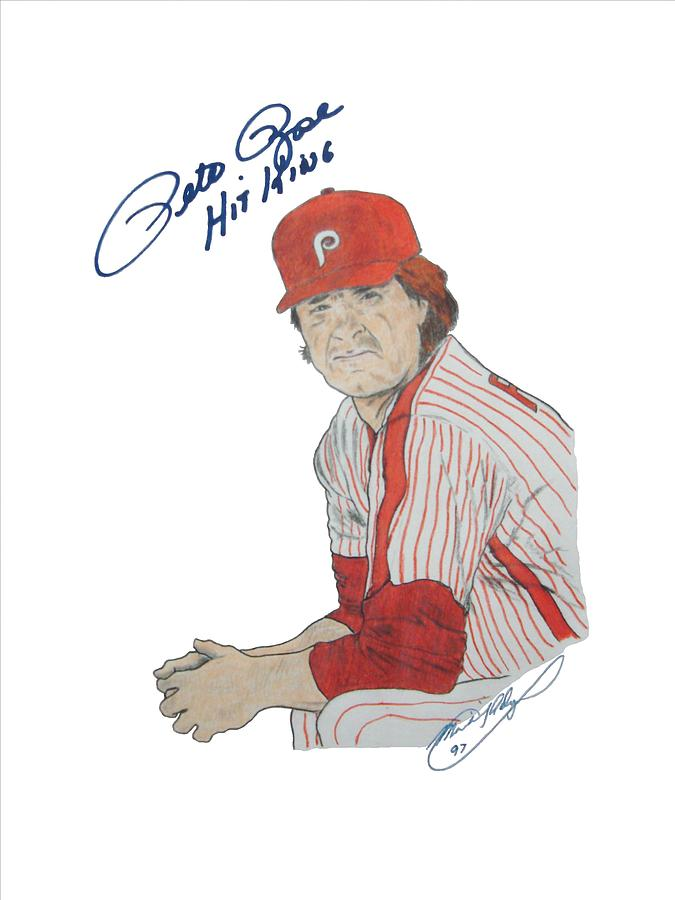 Autographed Drawing - Autographed Pete Rose The Hit King by Michael Dijamco