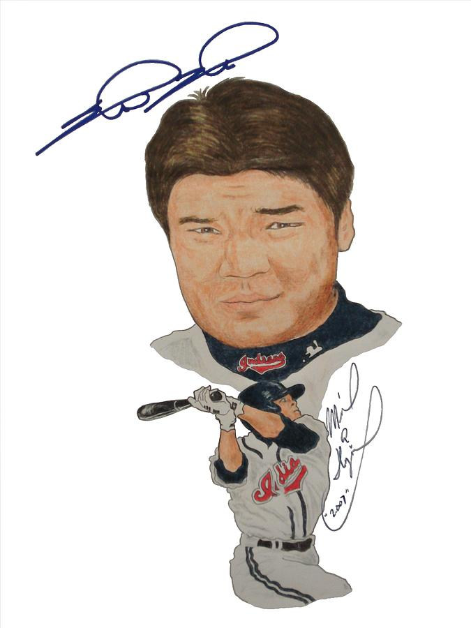 Autographed Drawing - Autographed Shin-soo Choo Portrait by Michael Dijamco