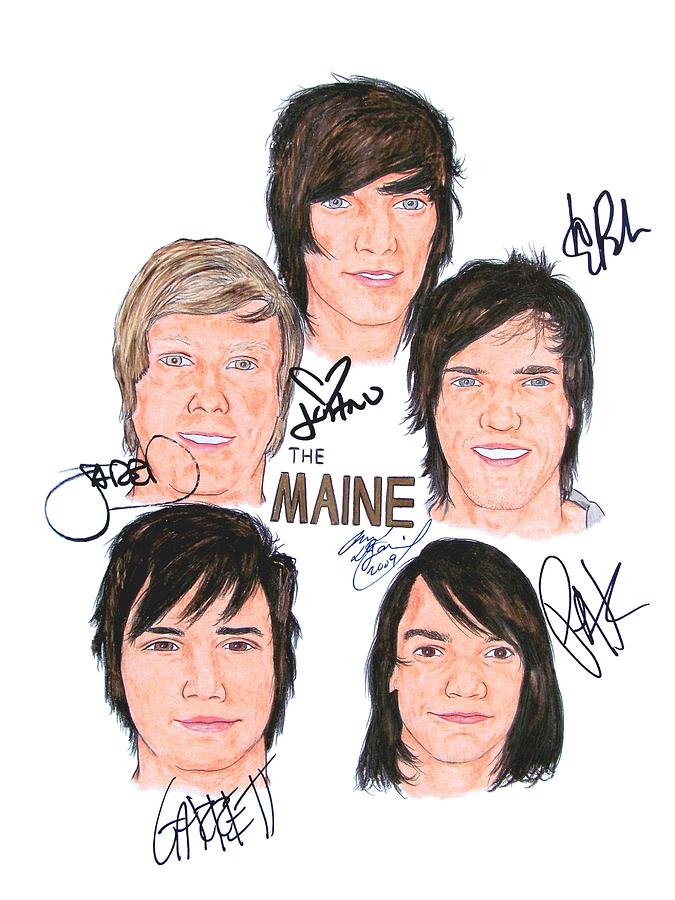 Portraits Drawing - Autographed The Maine by Michael Dijamco