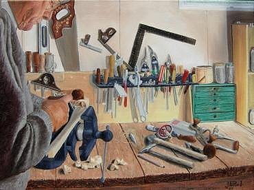Artist Painting - Autoportrait Savoir Faire  by Jean-pierre Loiselle