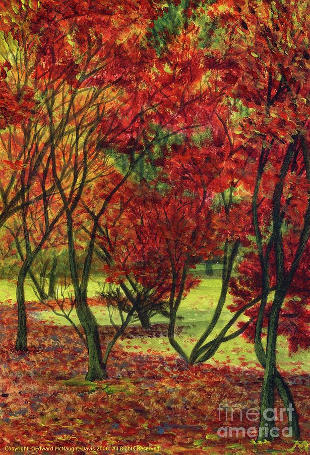 Autum Red Woodlands Painting by Edward McNaught-Davis