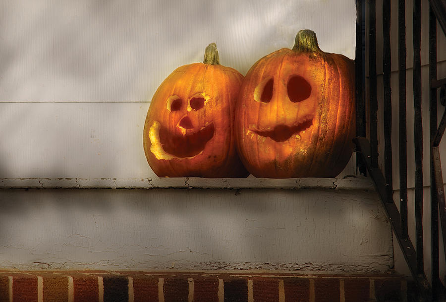 Savad Photograph - Autumn - Pumpkins - Two Goofy Pumpkins by Mike Savad
