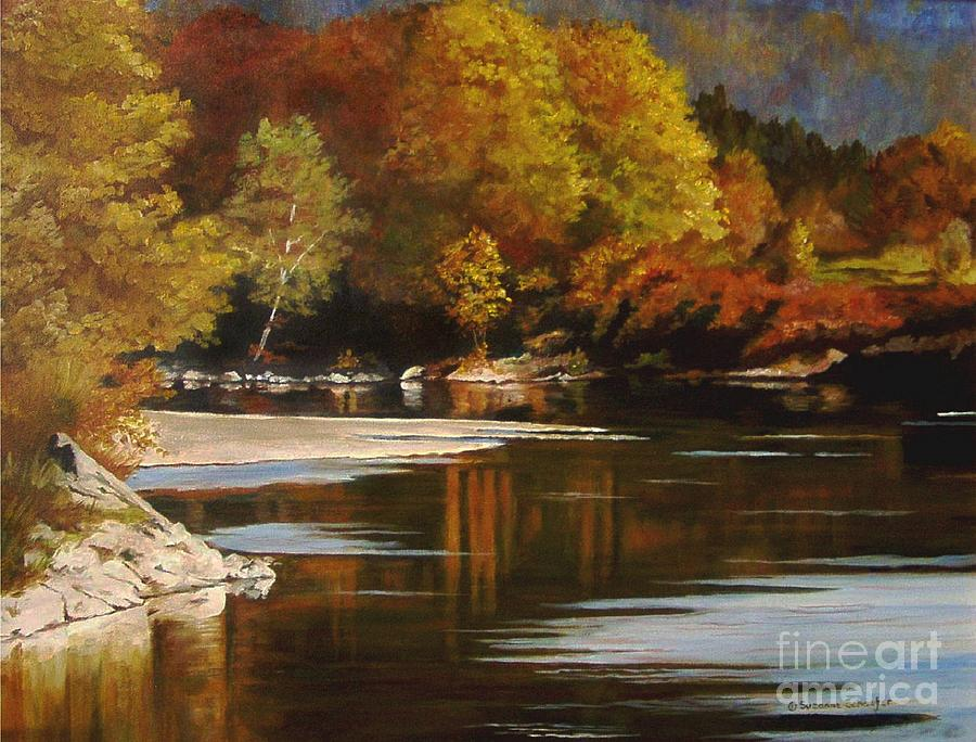 Scene Painting - Autumn Along The Stillaguamish by Suzanne Schaefer