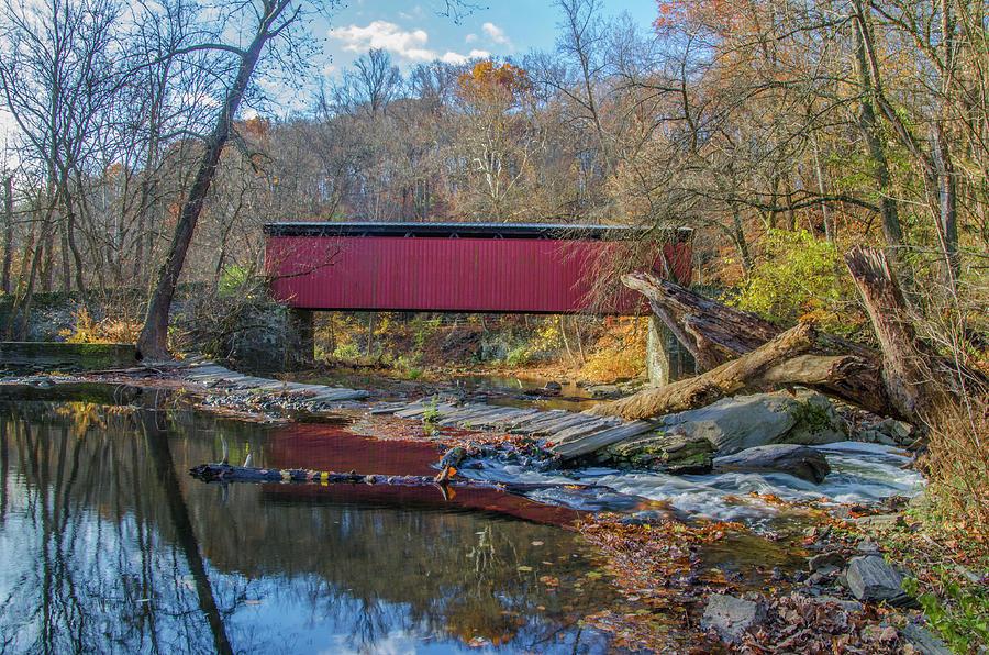 Autumn Photograph - Autumn Along The Wissahickon Creek -thomas Mill Covered Bridge by Bill Cannon
