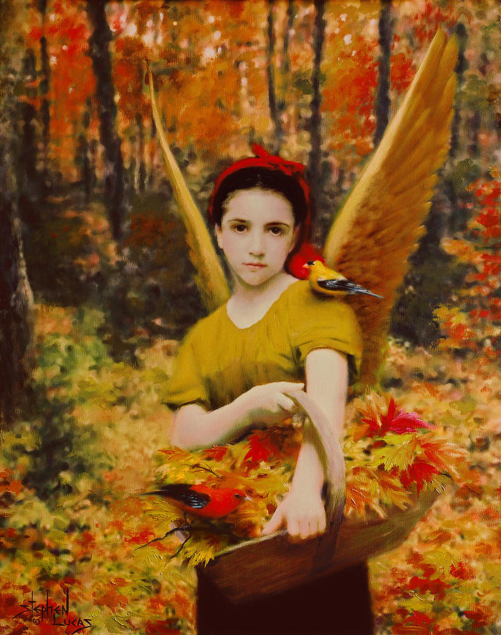 Angel Painting - Autumn Angels by Stephen Lucas