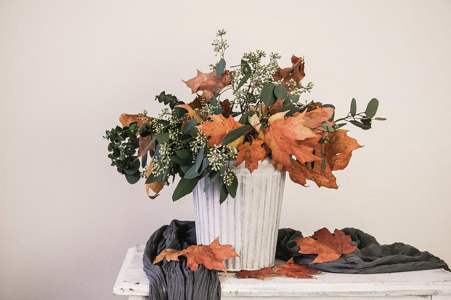 Leave Photograph - Autumn Arrangement by Kim Hojnacki