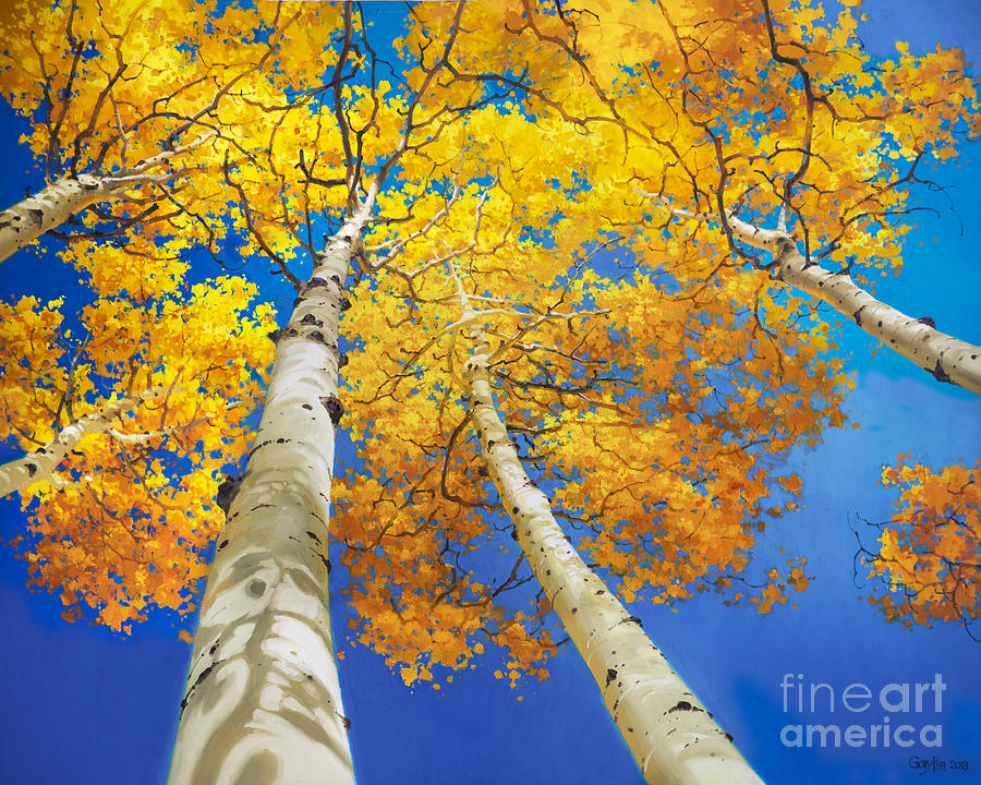 Autumn Aspen Canopy Painting by Gary Kim