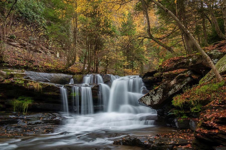 Autumn at Dunloup Creek Falls by Chris Berrier