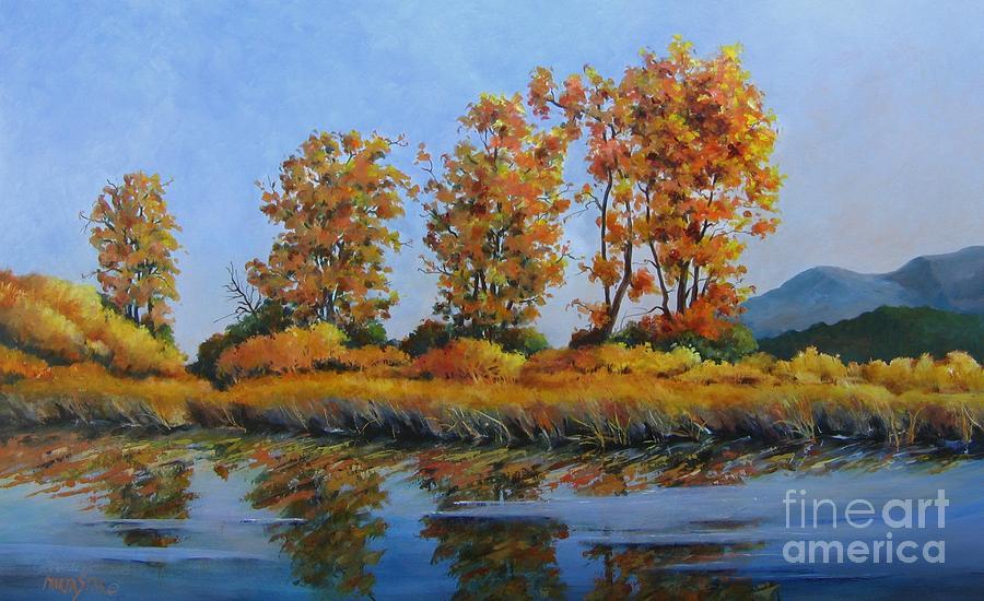 Landscape Painting - Autumn At Fraser Valley by Marta Styk