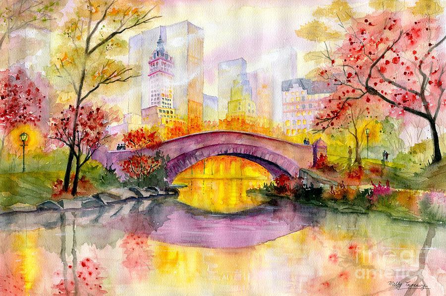 Gapstow Bridge Painting - Autumn at Gapstow Bridge Central Park by Melly Terpening
