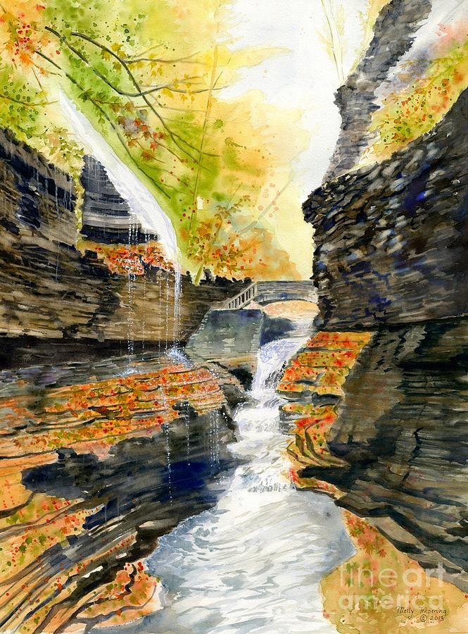 Rainbow Falls Painting - Autumn At Rainbow Falls  by Melly Terpening