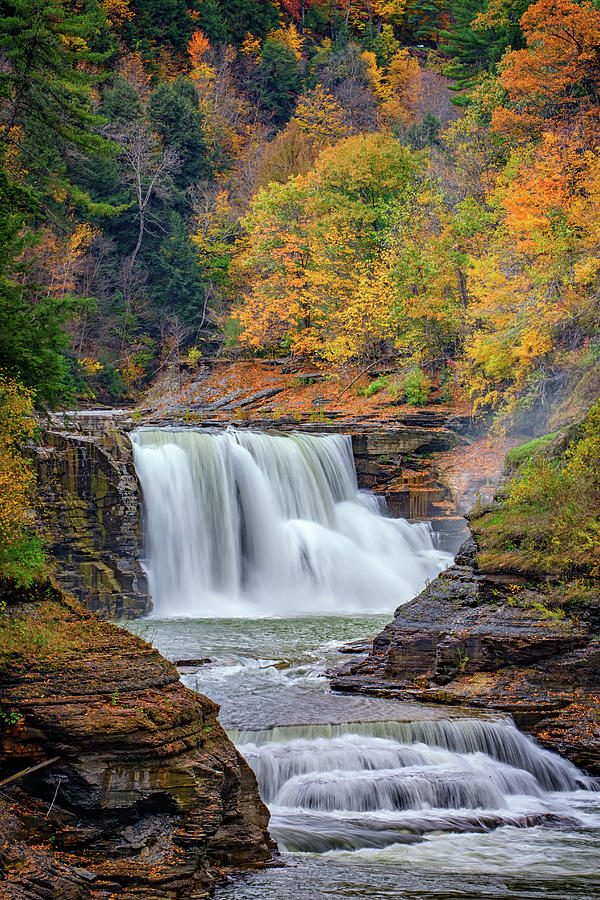 Autumn Photograph - Autumn At The Lower Falls by Rick Berk
